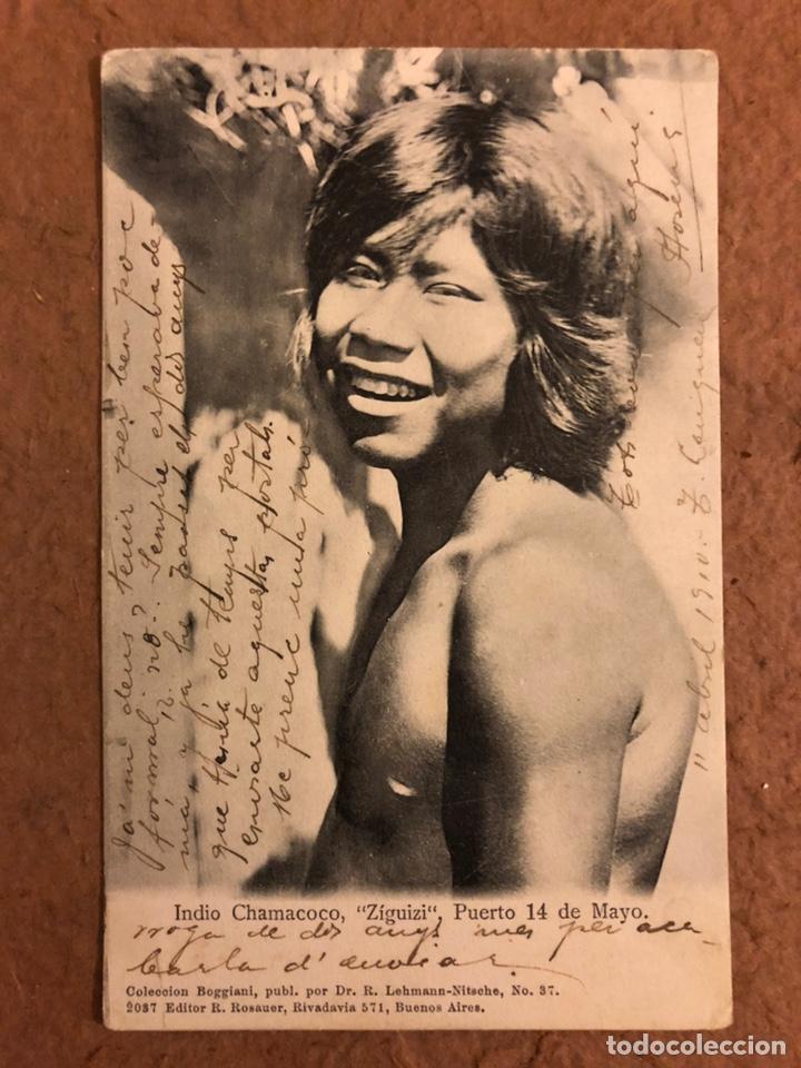 """INDIO CHAMACOCO, """"ZIGUIZI"""", PUERTO 14 DE MAYO. POSTAL CIRCULADA EN 1910. (Postales - Postales Temáticas - Étnicas)"""