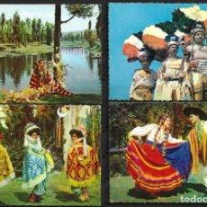 Postales: CUATRO TARJETAS,MÉJICO,MÉXICO,BAILES POPULARES,COLOR, AÑOS 60,SIN CIRCULAR. Lote 194180465