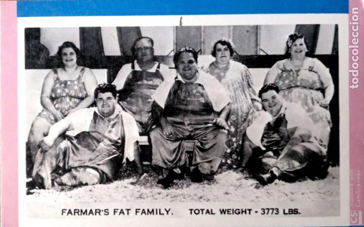 Postales: The Farmer Far Family. Personas de mucho peso. Nueva. Blanco/Negro - Foto 1 - 195064498