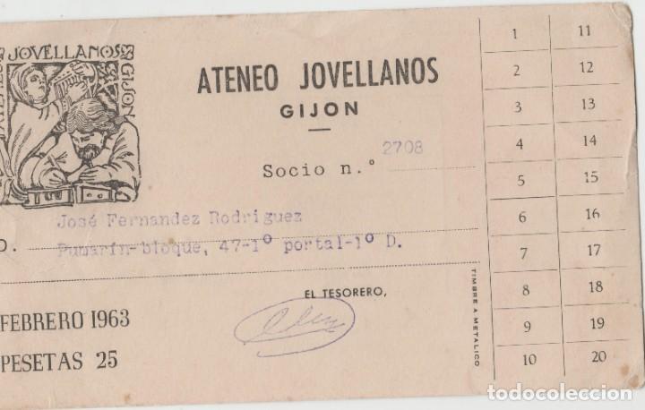 LOTE S-TARJETA SOCIO ATENEO GIJON ASTURIAS 1963 (Postales - Postales Temáticas - Étnicas)