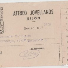 Postales: LOTE S-TARJETA SOCIO ATENEO GIJON ASTURIAS 1963. Lote 256255440