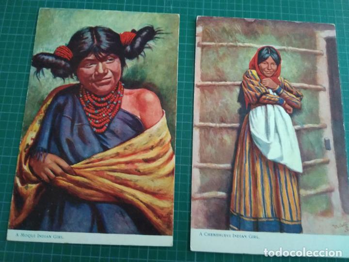 2 POSTALES - INDIEN WOMEN - PRINTEND IN ENGLAND (Postales - Postales Temáticas - Étnicas)