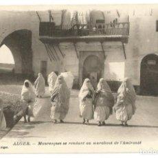 Postales: MAURESQUES SE RENDANT AU MARABOUT - ARGELIA - SCENES ET TYPES - 1914. Lote 205584526