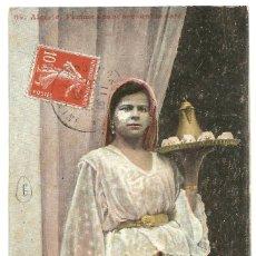 Postales: FEMME ÁRABE CAFÉ - ARGELIA - SCENES ET TYPES - 1909 - AQUA PHOTO. Lote 205594973