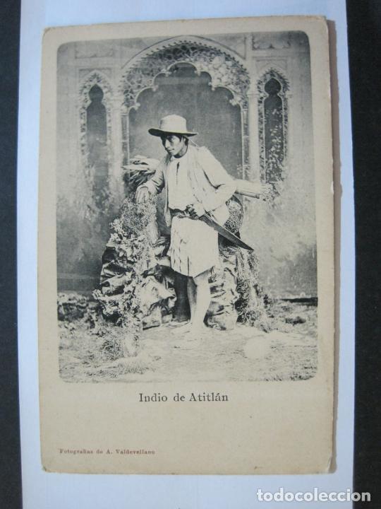 Postales: INDIO DE ATITLAN-FOTO A.VALDEVELLANO-REVERSO SIN DIVIDIR-POSTAL ANTIGUA-(74.353) - Foto 2 - 220297895