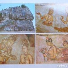 Postales: LOTE DE 4 POSTALES DE LA SRI LANKA: FORTALEZA DEL REY KASYAPA (S.V) EN SIGIRIYA (COLINA DEL LEÓN). Lote 227874842