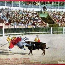 Postales: TAUROMAQUIA. 3 COGIDA DEL CABALLO. PICADOR EN PELIGRO. NUEVA. COLOR.. Lote 241506030