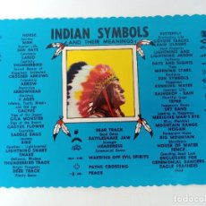 Postales: TARJETA POSTAL. USA. INDIAN SYMBOLS AND THEIR MEANINGS. POST CARD. DT-4531-C. INDIOS. Lote 241980140