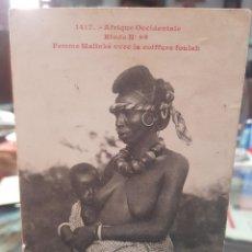 Postales: ANTIGUA POSTAL ETNICA MUJER NEGRA MALINKE AFRICA OCCIDENTAL. Lote 261812920