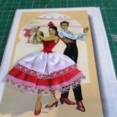 Postales: POSTAL. DIBUJO FLAMENCO CON TRAJE DE TELA. Lote 276187503
