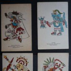 Postales: 4 POSTALES DE DIOSES AZTECAS, MEDIDAS 11,5 X 17,5 CM. VER FOTOS Y COMENTARIOS. Lote 276650163