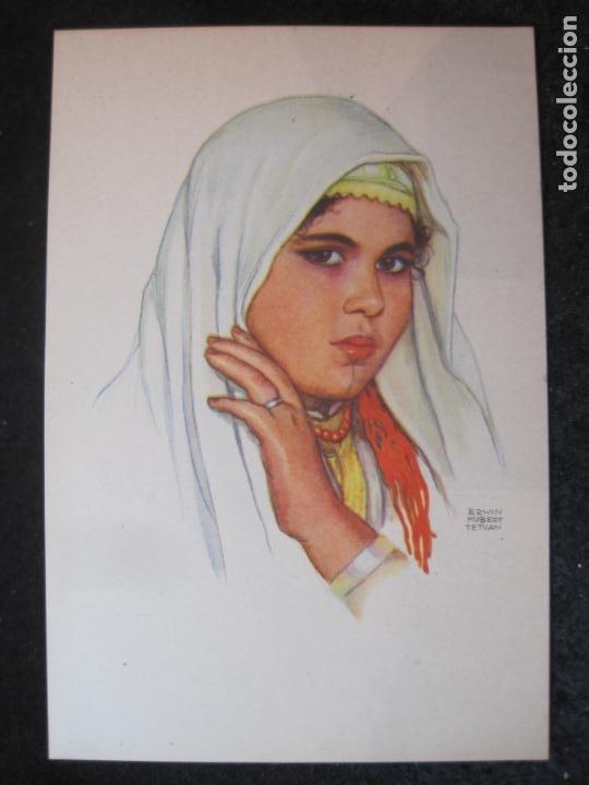 OFICINA TURISMO PROTECTORADO ESPAÑA MARRUECOS-ILUSTRADA POR ERWIN HUBERT-POSTAL ANTIGUA-(84.172) (Postales - Postales Temáticas - Étnicas)