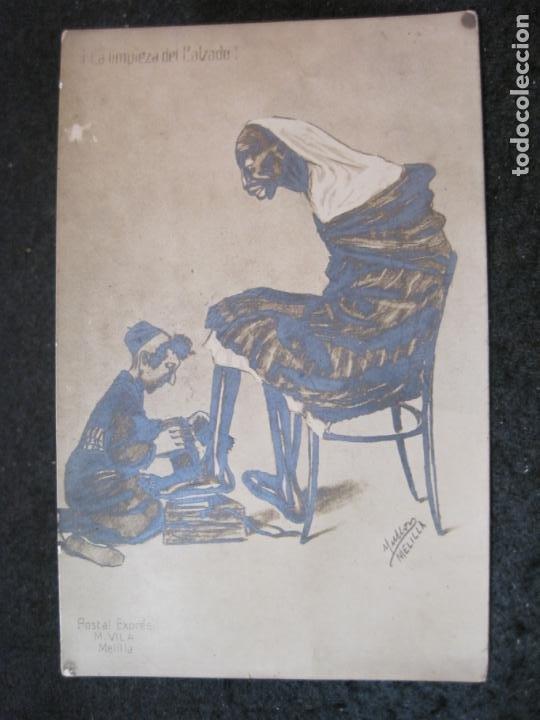 LA LIMPIEZA DEL CALZADO-POSTAL EXPRES M.VILA,MELILLA-FOTOGRAFICA-POSTAL ANTIGUA-(84.184) (Postales - Postales Temáticas - Étnicas)
