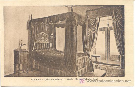 POSTAL DE SINTRA - CINTRA - LEITO DA RAINHA D. MARIA PIA NO PALACIO REAL (Postales - Postales Extranjero - Europa)