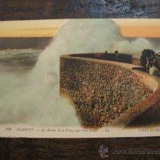 Postal Original. Biarritz. Au Rocher de la Vierge par Gros temps. Coloreada. Cote D'Argent