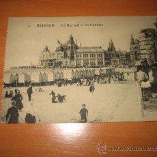 Postales: OSTENDE.-LE KURSAAL ET LES CABINES. Lote 9579629