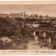Postales: CARTE POSTALE LA CITÉ DE CARCASSONNE VUE GENERALE DELA CITÉ VUE DE L'AUDE EDIT NARBO. Lote 10341346