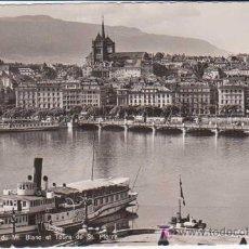 Postales: POSTAL ANTIGUA : GENEVE ( GINEBRA ). PONT DU MT.BLANC ET TOURS DE ST.PIERRE. SUIZA. Lote 10704798