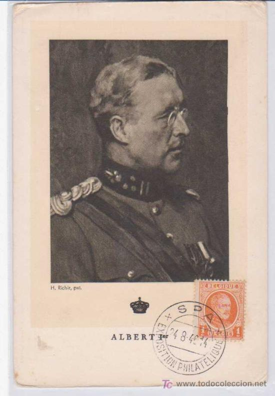 TARJETA MÁXIMA : LE ROI ALBERT I - BELGICA. 1946. ED PORTRAITS OFFICIELS (Postales - Postales Extranjero - Europa)