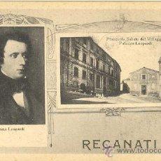 Postales: POSTAL AÑOS 20 RECANATI ITALIA LEOPARDI PALACIO PLAZA SABATO DEL VILLAGGIO MUY RARA. Lote 14336341