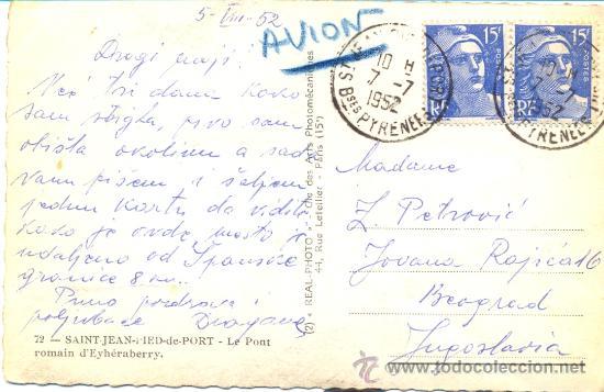 Postales: POST 106 - POSTAL 1952 SELLO PYRENEE - 72 - SAINT JEAN PIED DE PORT - LE PONT ROMAIN (REAL PHOTO) - Foto 2 - 24417816