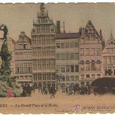 Postales: AMBERES - LA GRAN PLAZA BRABO, EDIT. TH VAN DENHEUVEL, SELLADA Y RESELLADA, FECHADA 1902. Lote 27489278