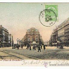 Postales: BRUSELAS - POSTAL MUY BUENA, TANTO COMO POSTAL, COMO POR SELLO Y RESELLO, FECHADA 1904, VER FOTOS. Lote 27489281