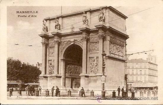 MARSEILLE (MARSELLA) PORTE D´AIX - POSTAL CIRCULADA AÑO 1920 (Postales - Postales Extranjero - Europa)