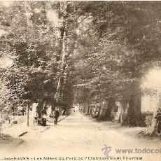 Postales: LUXEUIL - LES BINS - LES ALLÉES DU PARC DE L´ETABLISSEMENT THERMAL - CIRCULADA PRINCIPOS S.XX. Lote 16869710
