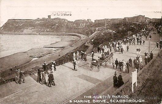 SCARBOROUGH - THE QUEENS PARADE & MARINE DRIVE - POSTAL CIRCULADA 1921 - MATASELLOS SCARBOROUGH (Postales - Postales Extranjero - Europa)