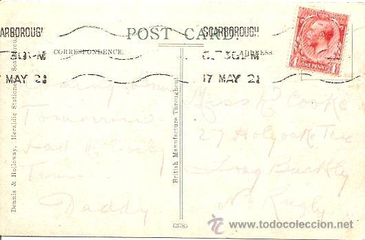 Postales: SCARBOROUGH - THE QUEENS PARADE & MARINE DRIVE - POSTAL CIRCULADA 1921 - MATASELLOS SCARBOROUGH - Foto 2 - 16870293
