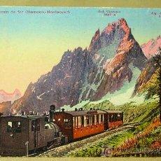 Postales: ANTIGUA POSTAL SUIZA, TREN CHAMONIX MONTVERT, Nº X 4642 EDICIONES ZÜRICH, 1931. Lote 17091689