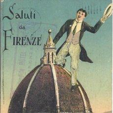 Postales: PS3306 POSTAL 'SALUTI DA FIRENZE'. CIRCULADA EN 1925 ENTRE FIRENZE Y ARENYS DE MAR (BARCELONA). Lote 18186478