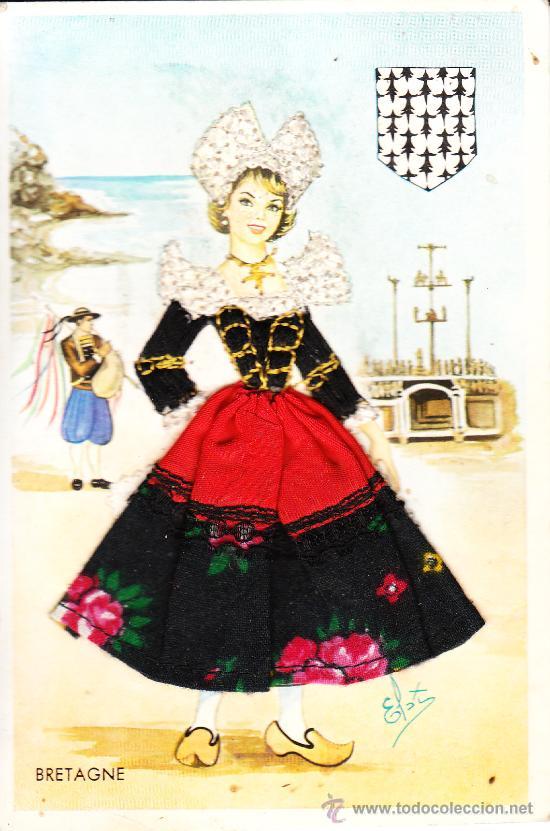 Traje tipico de bretagne dibujada y bordada comprar for Tipico de francia