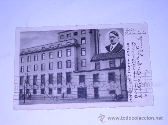 POSTAL ALEMANA CON FOTOGRAFIA DE ADOLF HITLER .BERLIN REICHHANZLERPALAIS.CIRCULADA 1935 (Postales - Postales Extranjero - Europa)