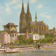 Postales: POSTAL A COLOR KÖLN AM RHEIN RHEINUFER UND DOM ESCRITA 1959. Lote 23816792