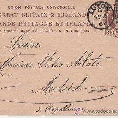 Postales: GRAN BRETAÑA E IRLANDA - MADRID - LUTON 1881. Lote 24667678