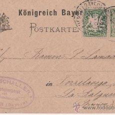 Postales: FÜRTH - FUERTH - BAYERN - TORRELAVEGA - LLANES - LA GALGUERA - 1891. Lote 24683016