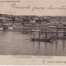 Postales: LISBOA DESDE EL TAJO - ENVIADA A BAYONA - PONTEVEDRA - 1903. Lote 24698885