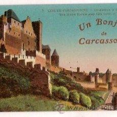 Postales: ANTIGUA POSTAL 7 CITE DE CARCASSONNE ENSEMBLE A L'OUEST UN BONJOUR DE CARCASSONNE LL. Lote 24962998