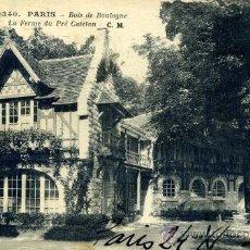 Postales: PARÍS. BOIS DE BOULOGNE - GRANJA DE PRÉ CATELAN. Lote 26527817
