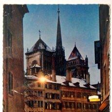 Postales: SUIZA. GENEVE. LE BOURG-DE-FOUR ET LA CATHÉDRALE DE SAINT-PIERRE.. Lote 27114131