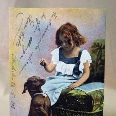Postales: TARJETA POSTAL, POSTCARD, AÑO 1903, E.S.D., SERIE 727, NIÑA CON SU PERRO. Lote 25897453