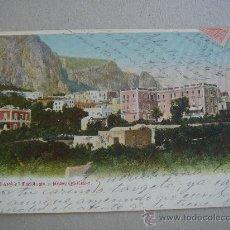 Postales: CAPRI-PANORANIA E HOTEL QUISISANA. CIRCULADA, ESCRITA Y CON SELLO DE 10 CTS DE ALFONSO XIII (1905). Lote 26282528