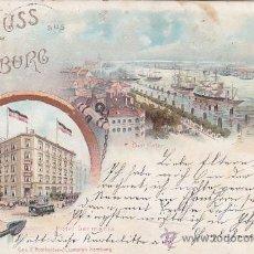 Postales: HAMBURGO EN 1897: EL PUERTO, EL HOTEL GERMANIA. BONITA Y RARA POSTAL CIRCULADA A ITZEHOE (ALEMANIA).. Lote 26296472