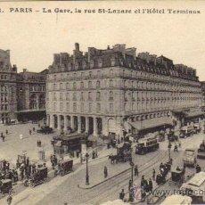Postales: PARÍS - 42 LA ESTACIÓN, LA CALLE SAINT LAZARE Y EL HOTEL TERMINUS. Lote 26429052
