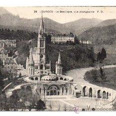 Postales: LOURDES - LA BASILIQUE, VUE PLONGEANTE (C.1930). Lote 28161735