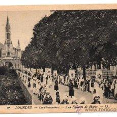 Postales: LOURDES. - LA PROCESSION. - LES ENFANTS DE MARIE. - (C.1930). Lote 28206608