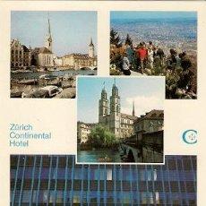 Postales: ZURICH CONTINENTAL HOTEL. Lote 28238457