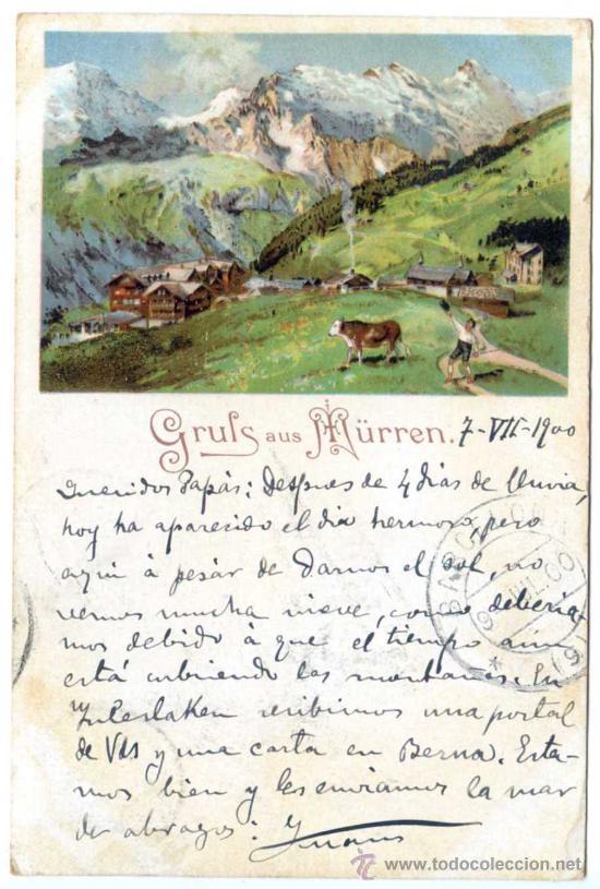 GRUSS AUS MÜRREN. CIRCULADA 7/7/1900, FRANQUEO FILATÉLICO (VER REVERSO) CARTOFILIA (Postales - Postales Extranjero - Europa)